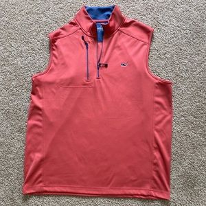 Salmon colored Vineyard Vines Quarter-Zip Vest